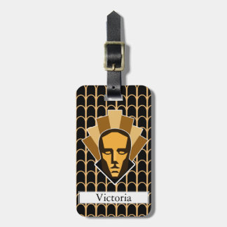 1920s Art Deco Style Roaring Twenties Statue Crest Luggage Tag