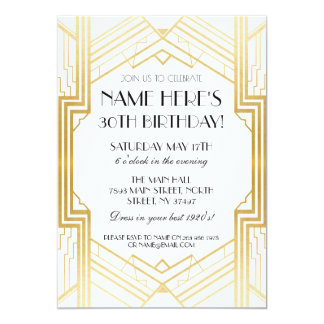 1920's Birthday Gold Art Deco Invite Gatsby Party