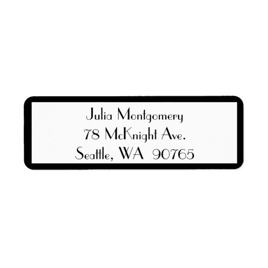 1920's Black & White Return Address Label