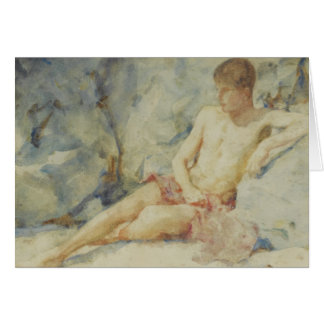 1920's Boy Against Rock by Tuke Card