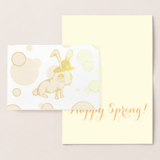 1920s Bunny Gold Easter Foil Card