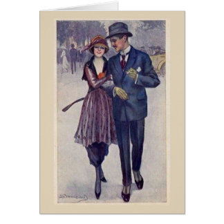 1920s Couple Out for a Stroll, Card