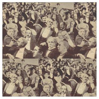 1920s crowd scene print fabric