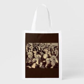 1920s crowd scene reusable grocery bag