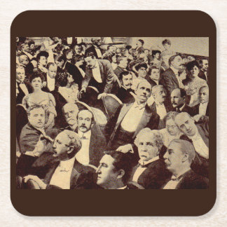 1920s crowd scene square paper coaster