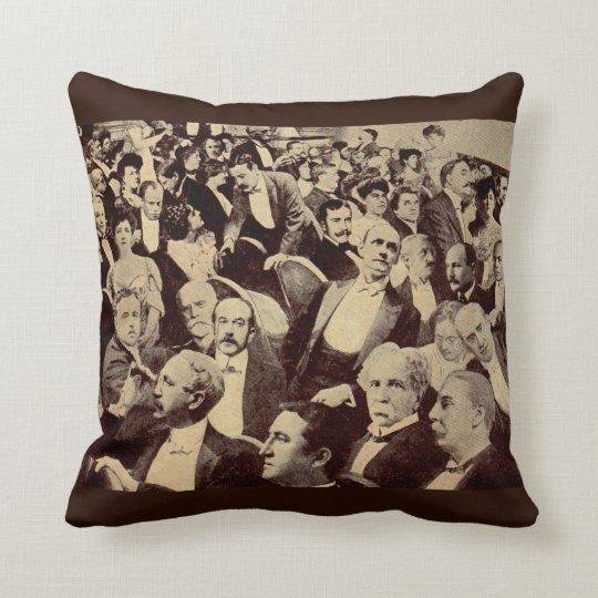 1920s crowd scene throw pillow