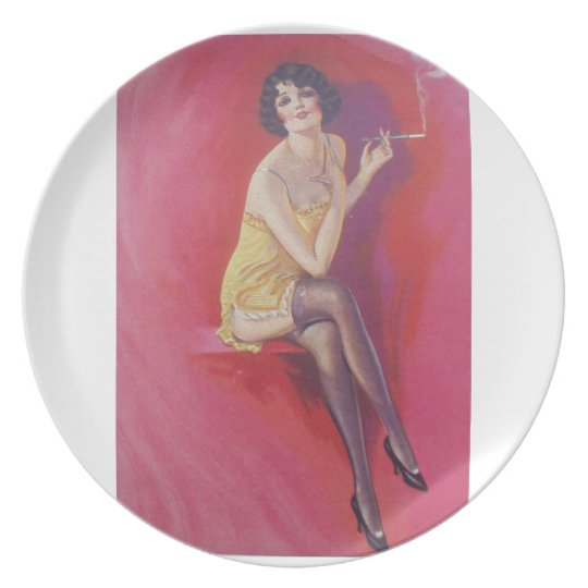 1920s Deco Flapper with Cigarette Holder Plate