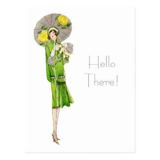 1920s Fashion with Parasol Postcard