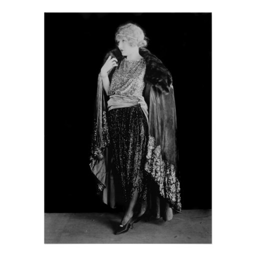 1920s Flapper Fashion and Hairstyle Print