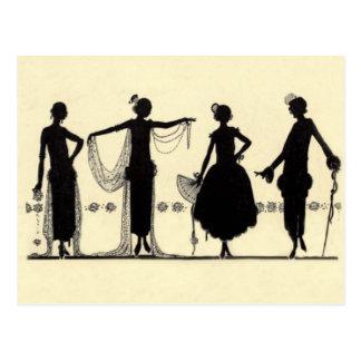 1920's Flapper Fashion Silhouette Postcard