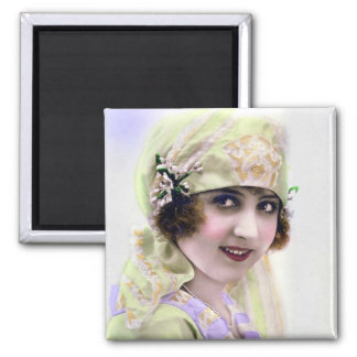 1920's Flapper in Green and Purple Square Magnet