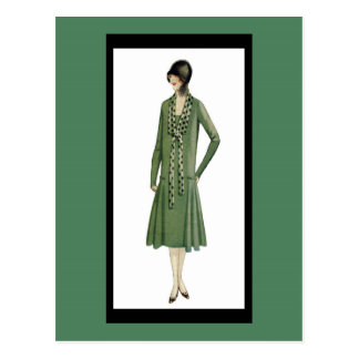 1920's Flapper in Green Postcard
