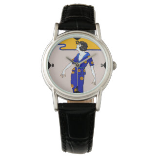 1920's Flapper Watch - Black Leather
