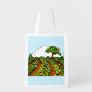 1920s garden print reusable grocery bag
