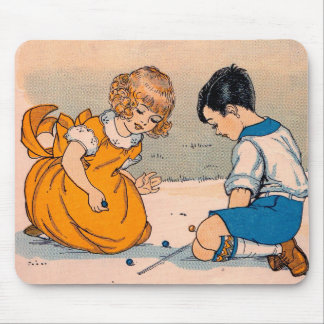 1920s girl and boy playing marbles mouse pad