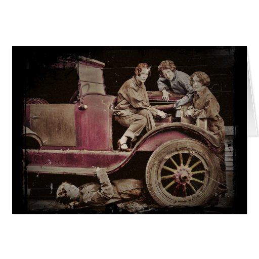 1920's Girl Auto Mechanics Card