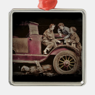 1920's Girl Auto Mechanics Metal Ornament