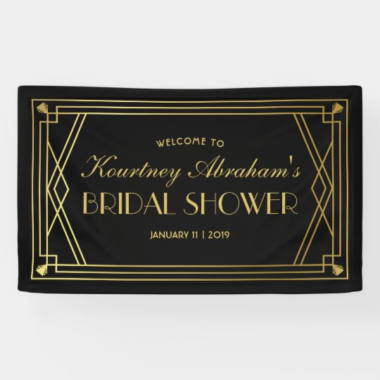 1920s Great Gatsby Art Deco Bridal Shower Banner