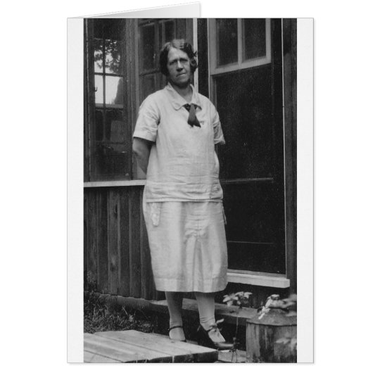 1920's Lady standing outside of building Card