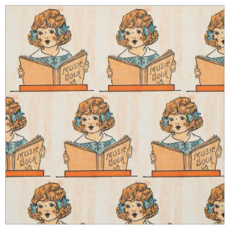 1920s little girl with music book juvenile print fabric