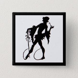 1920s magician silhouette 2 inch square button