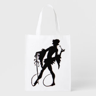 1920s magician silhouette reusable grocery bag