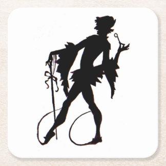 1920s magician silhouette square paper coaster