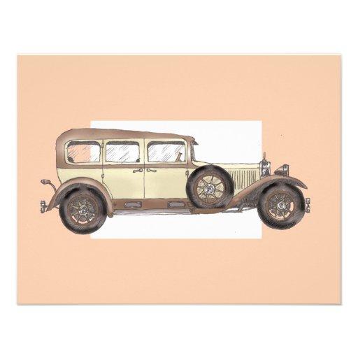 1920s Mercedes Limousine Personalized Invitations
