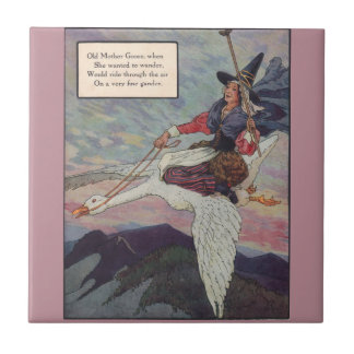 1920s Mother Goose riding her giant goose Ceramic Tiles