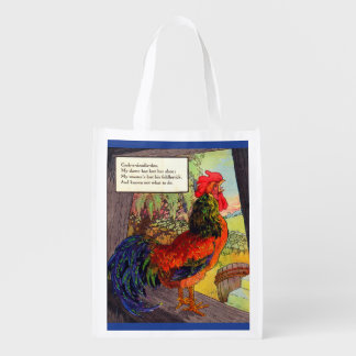 1920s Mother Goose - rooster Reusable Grocery Bag
