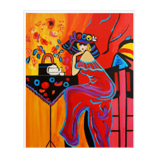 1920'S RED ROOM  FEMALE WITH BIG HAT ACRYLIC WALL ART