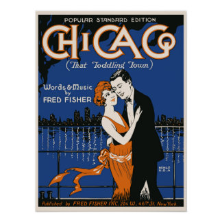 1920s style dancing couple, Chicago music Poster