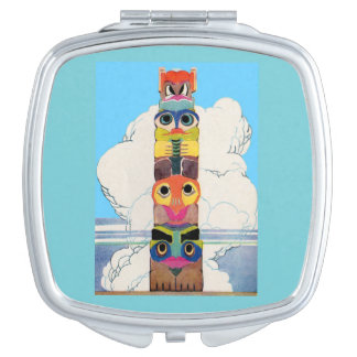 1920s totem pole compact mirror