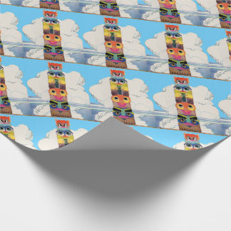 1920s totem pole print wrapping paper