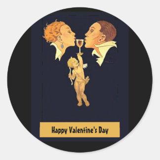1920's Valentine Kiss Classic Round Sticker
