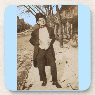 1920s vernacular photo classy young man coaster