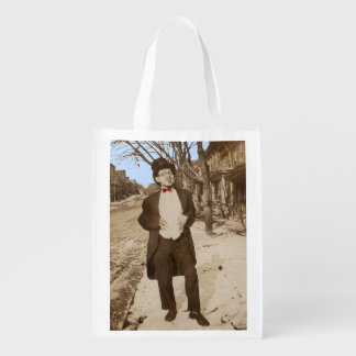1920s vernacular photo classy young man reusable grocery bag