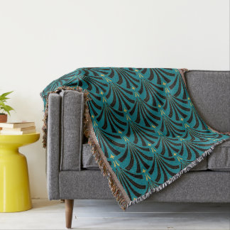 1920s Vintage Art Deco Fans in Mint Julep Throw Blanket