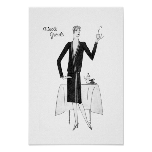 1920's Vintage Flapper Woman with Coffee Poster