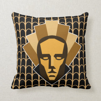 1920s Vintage Glamor Art Deco Statue Crest Throw Pillow