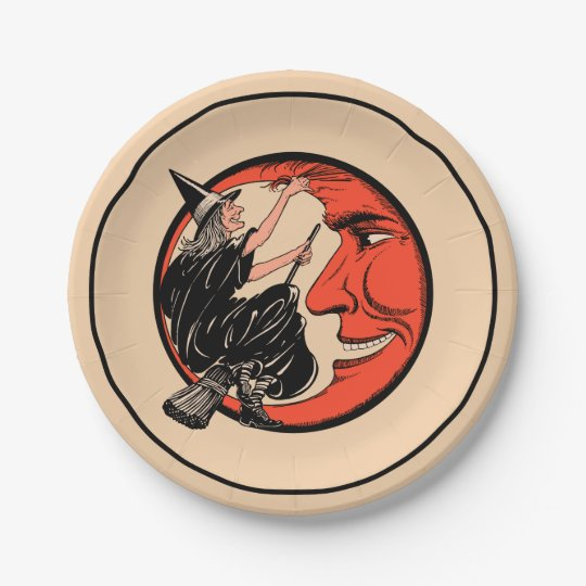 1920s Vintage Halloween Witch 7 Inch Paper Plate