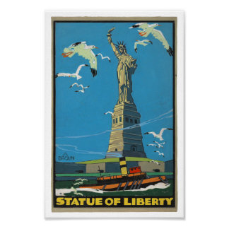 1920's Vintage Statue of Liberty Posterette Poster
