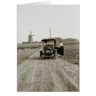 1920's Woman Car and Great Dutch Windmill Photo Card