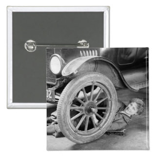 1920s Woman Car Mechanic 2 Inch Square Button