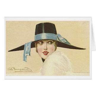 1920s Woman in Black Hat, Card