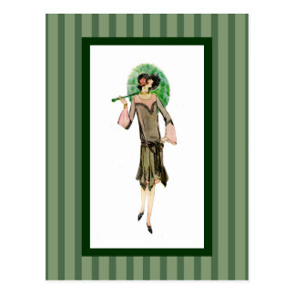 1920s Woman with Green Stripes Postcard