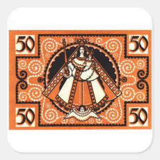 1921 Grace of Kevelaer Notgeld Banknote Square Sticker