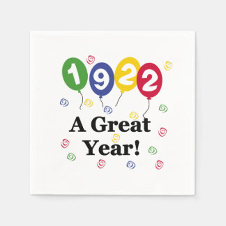 1922 A Great Year Birthday Paper Napkins