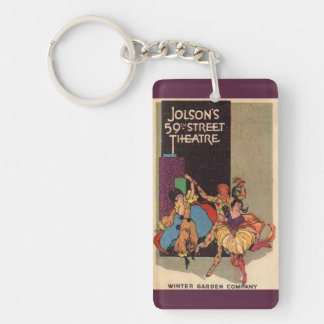 1923 Al Jolson's Theatre playbill cover Double-Sided Rectangular Acrylic Keychain