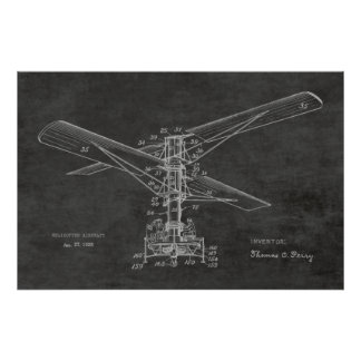 1925 Helicopter Aircraft Patent Drawing Vintage Poster